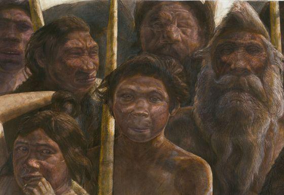 Ilustración de un grupo de homínidos de la Sima de los Huesos.