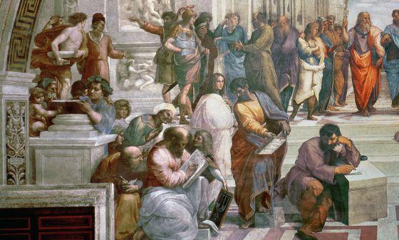 La Escuela de Atenas, de Rafael, muestra en su parte izquierda a Pitágoras rodeado de estudiantes.