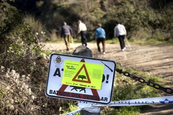Anuncio de una batida de jabalíes en Cataluña.
