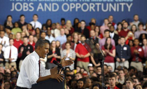 El presidente de EE UU, Barack Obama, durante su discurso en la universidad de Carolina del Norte.