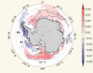 Variación de la cubierta de hielo marino en la Antártida calculada en porcentajes de extensión por década (1979 y 2012): el hielo aumenta en las zonas marcadas en rojo (este y oeste) y disminuye en las azules.