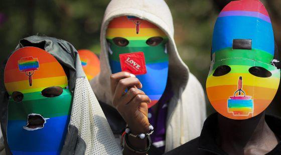 Protesta en Nairobi (Kenia) contra de la ley antihomosexual de Uganda en febrero.