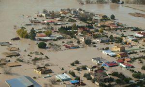 Vista de las inundaciones provocadas por la crecida del Guadalquivir.