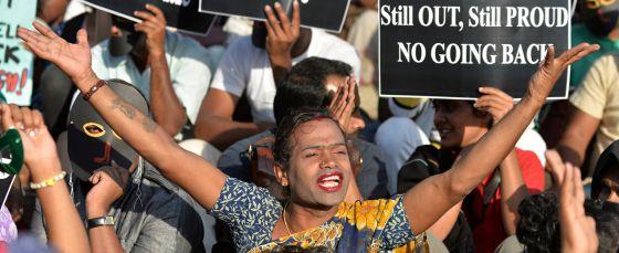 Activistas homosexuales de India.