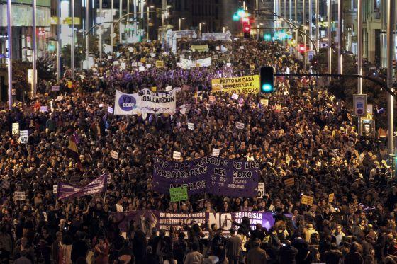 Manifestación contra la ley Gallardón, el pasado 8 de marzo.