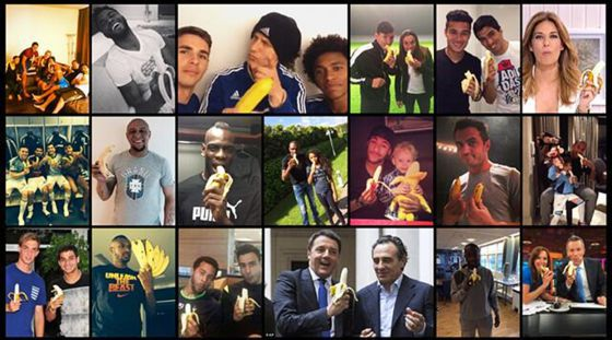 Some of the anti-racism photos taken in support of Dani Alves.