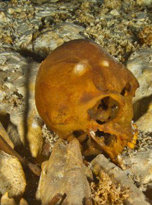 El cráneo de Naia en el fondo de la cueva.