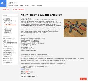 Captura de un página web de venta de armas