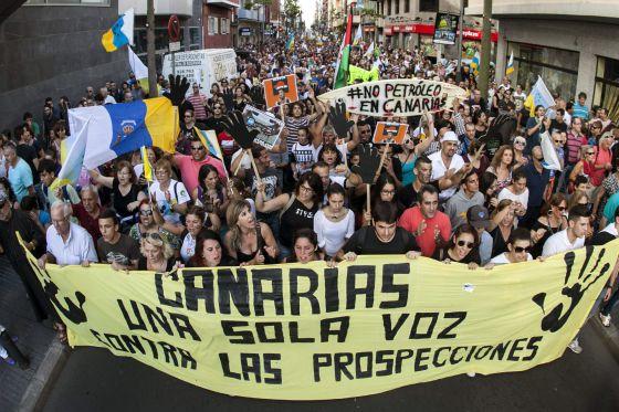 Cabeza de la manifestación en Las Palmas de Gran Canaria.