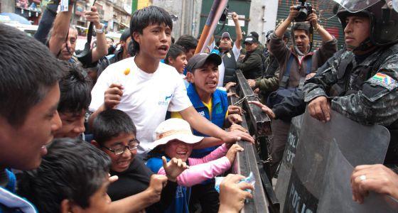 Protesta por el trabajo infantil en Bolivia en diciembre de 2013.  ANDREA MARTÍNEZ (AFKAPHOTOS)
