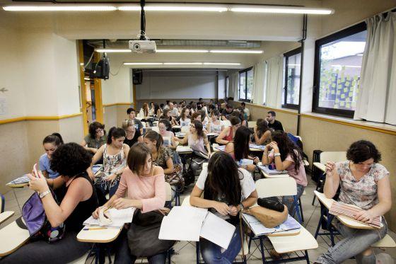 Un aula en la Universidad de Barcelona.