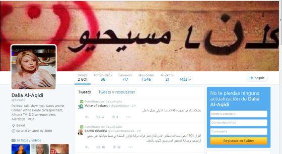 Twitter de la periodista Dalia al-Aqidi.