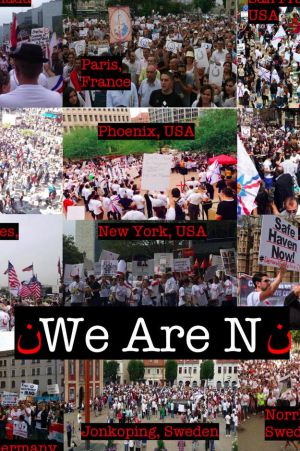 Fotografías de manifestaciones en apoyo a los cristianos en el norte de Irak.