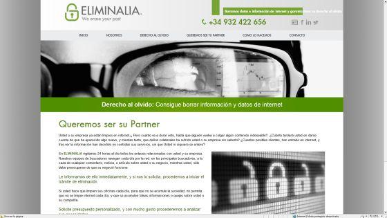 La página web de Eliminalia, una de las empresas que se dedican a borrar información de la red.