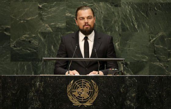 El actor Leonardo Di Caprio interviene este martes en la Cumbre del Clima.