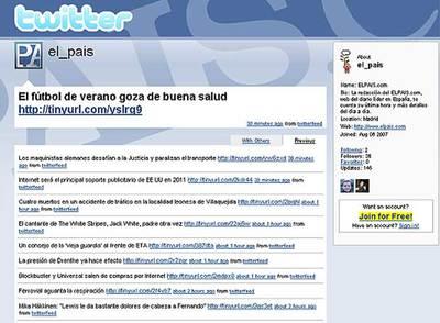 ELPAIS.com, primer medio español en crear su Twitter
