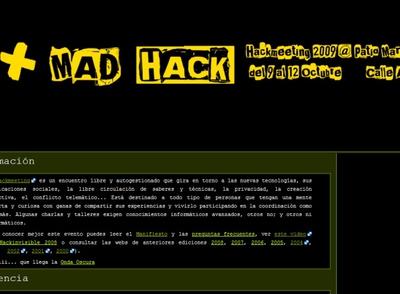 Portada de la página del Hackmeeting que se celebra en Madrid.