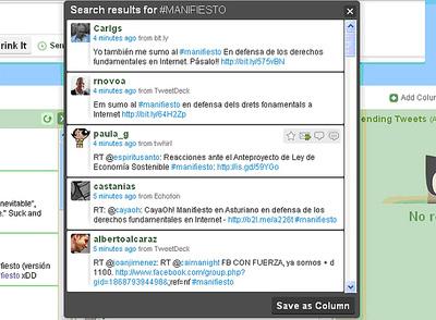 Ejemplo de la repercusión y promoción del manifiesto en Twitter.