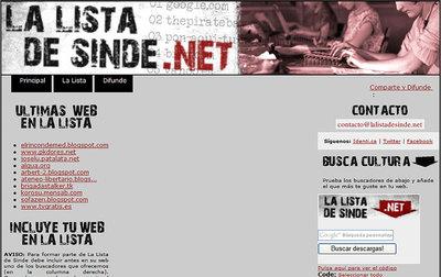 Aspecto de la 'web' de 'La lista de Sinde'