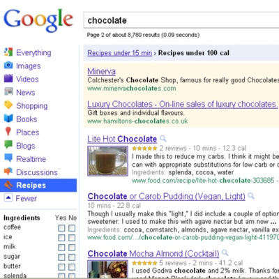 Recipe View de Google.