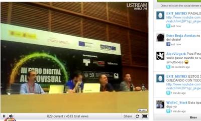 Imagen en Internet de la conferencia de San Sebastián donde se han creado en directo enlaces a filmes para demostrar la inutilidad de la Ley Sinde.