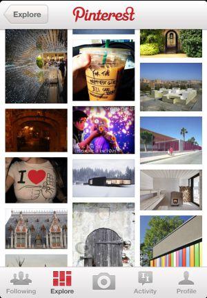 Aplicación de Pinterest en el móvil
