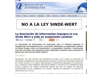 Página de la Asociación de Internautas.