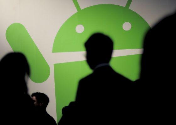 El logo de Android en la feria de Barcelona.