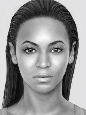 Retrato de Beyoncé sobre iPad.
