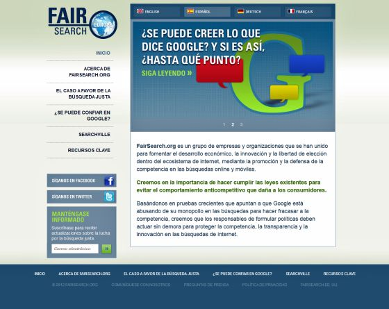 Página de FairSearch.org.