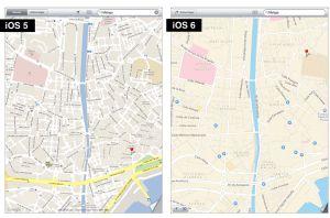 Los mapas de Google, a la izquierda, y de Apple.