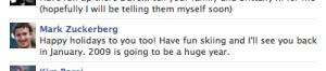 Mensaje privado de Zuckerberg deseando unas felices fiestas.