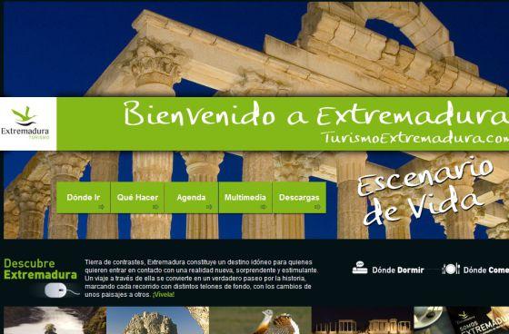 Actual web de Turismo de Extremadura
