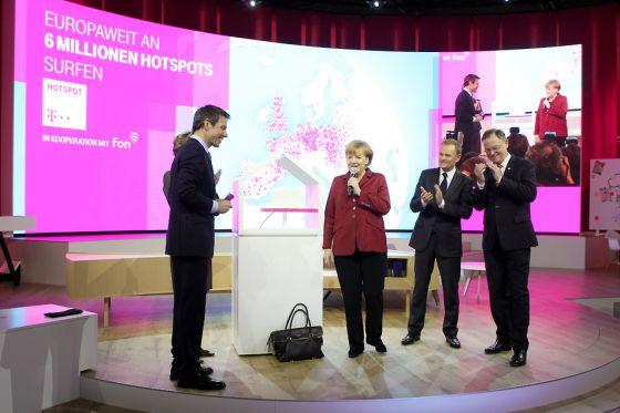 La canciller Angela Merkel durante la presentación del acuerdo.