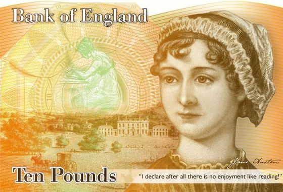 Billetes con la imagen de Jane Austen que dieron pie a la polémica.