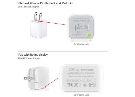 Apple cambia los cargadores falsos