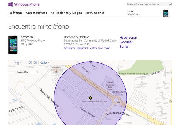 Servicio de localización de móviles Windows.