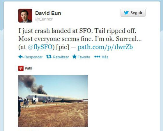 Uno de los pasajeros tuiteó el accidente.