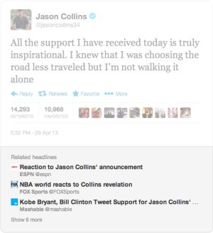 Mensaje de Jason Collins con enlaces de medios.