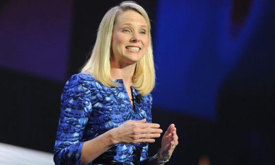 La presidenta de Yahoo, Marissa Mayer, durante su conferencia en el CES.