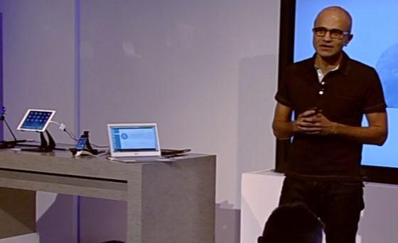Nadella, durante su primera conferencia como jefe máximo de Microsoft.