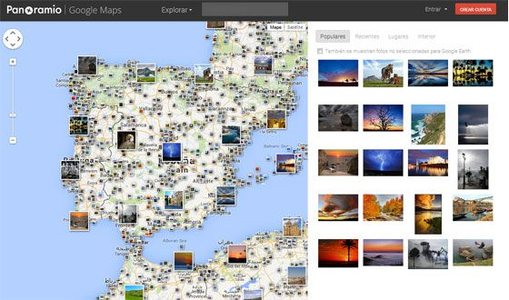 Fotos de distintos puntos de España subidas por los usuarios de Panoramio.