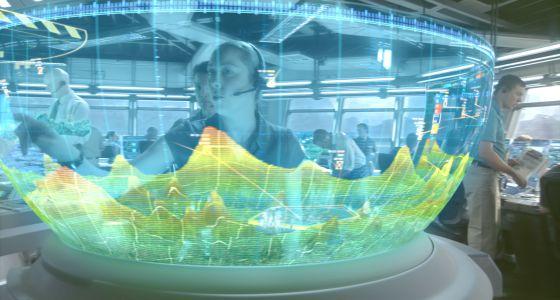 Fotograma de la película 'Avatar' que muestra un holograma interactivo.