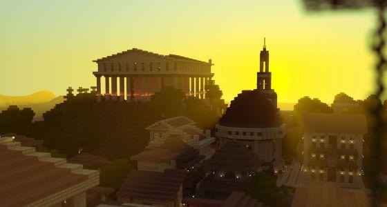 Una ciudad romana recreada con el videojuego 'Minecraft'.