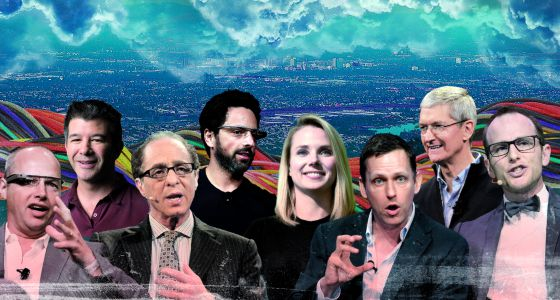 De izquierda a derecha: Sebastian Thrun (Google), Travis Kalanick (Uber), Ray Kurzweil (Google), Sergey Brin (Google), Marissa Mayer (Yahoo), Peter Thiel (Pay Pal -Thiel), Tim Cook (Apple), Joe Gebbia (Airbnb).