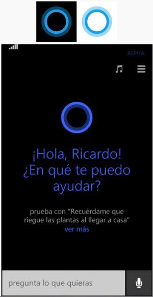 Interfaz gráfica de Cortana en su versión móvil.