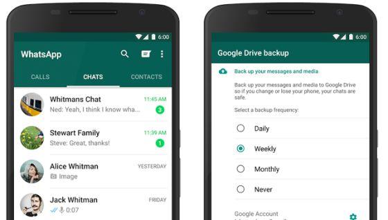 Las fotos, vídeos y 'chats' en WhatsApp podrán guardarse en Google Drive