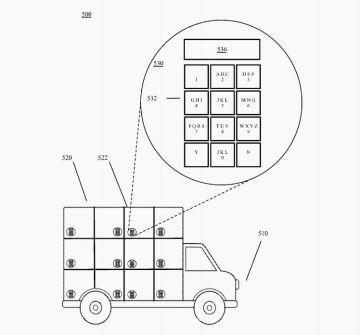 Croquis de la patente de Google en el que se aprecian los casilleros para el transporte de paquetes. Cada uno de ellos incorporaría un teclado para introducir el PIN que lo abre.