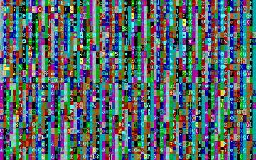 Crash mostraba sobre la pantalla caracteres ASCII aleatorios, con todas las combinaciones de color de fuente y fondo posibles.