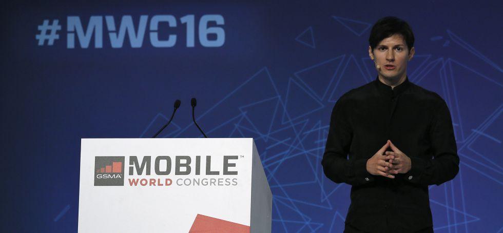 El fundador de Telegram, Pavel Durov, durante su intervención en el Mobile World Congress de Barcelona, el 23 de febrero de 2016.